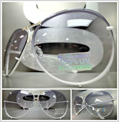 Style Tint - OVERSIZE Retro Designer Luxury Style SUNGLASSES White Frame Light Tint Gray Lens