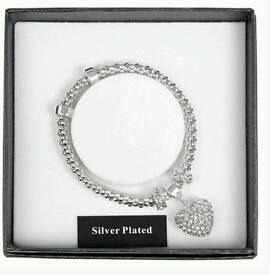 Equilibrium Silver Plated Diamanté Heart Charm Bracelet
