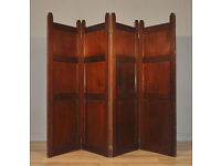 Attractive Large Vintage Panelled Mahogany 4-fold Room Divider Screen