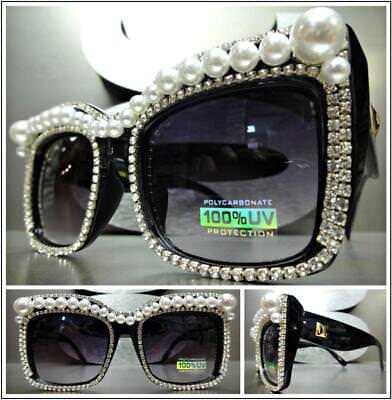 Übergröße Retro Cat Eye Style Sonnenbrille Schwarz Bling Rahmen mit Perlen