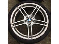 "19"" Genuine BMW E90 E91 E92 E93 M Sport Alloy Wheels & Tyres Staggered 5x120 Fits 1 3 Z3 Z4 Series"
