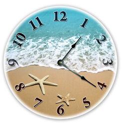 12 STARFISH AT BEACH SHORELINE CLOCK - Large 12 inch Wall Clock - 2107