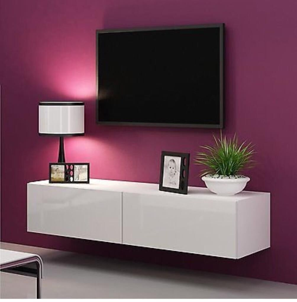 High Gloss Tv Stand Cabinet Led Light Choice Floating Wall Unit 180cm White