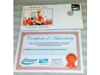SIR BOBBY CHARLTO 1966 WORLD CUP LEGEND SIGNED STAMP COVER +C O A.