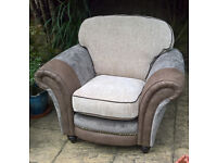 Ex-display Designer Fabric Oatmeal and Brown Hide Arm Chair.