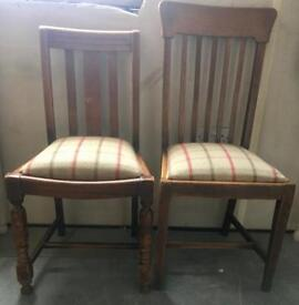 2x Solid oak drop seat chairs/reupholstered in check/tweed*price each*