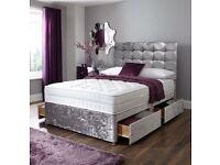 Same day Instant Delivery BRAND NEW GOOD QUALITY Crushed Velvet Bed Base /Crystal Headboard