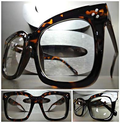 OVERSIZE VINTAGE RETRO NERD Style Clear Lens EYE GLASSES Large Tortoise (Tortoise Nerd Glasses)
