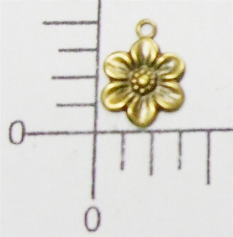 30013       6  Pc Brass Oxidized Small Flower Charm Jewelry Finding