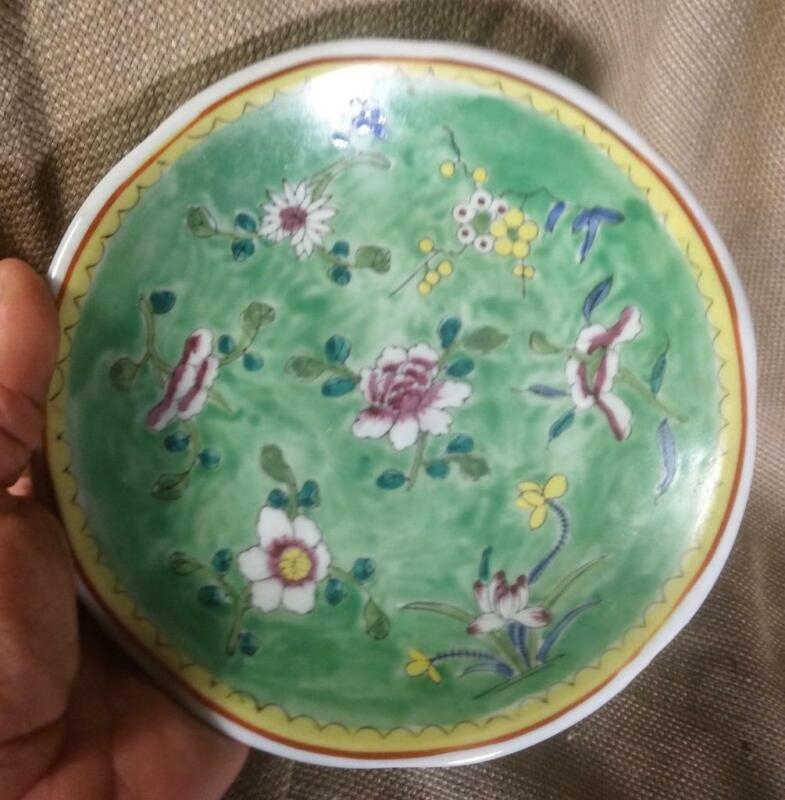 Old Chinese Asian Art Pottery Bowl Plate Hand Painted Enamel Decoration Flowers