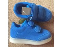 BNWT Next Boy Blue Light Up Trainers - Infant Size 6