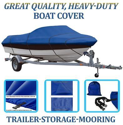 BLUE BOAT COVER FITS PRINCECRAFT PRO 169 SC/ LX SC W/TROLLING MOTOR 2005-2010