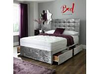 CHEAP CRUSHED VELVET AND CHENILLE DIVAN BED + MATTRESS + HEADBOARD - 3FT 4FT 4FT6 DOUBLE BED 5FT 6FT