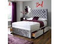 CRUSHED VELVET DIVAN BED SET - DIAMOND HEADBOARDS - 3FT SINGLE 4FT6 DOUBLE 5FT KINGSIZE