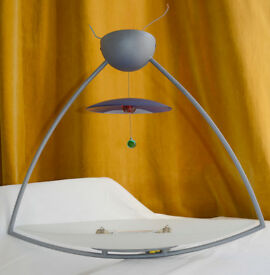 UNIQUE HALOGEN DESIGNER CEILING LIGHT WITH GLASS MOBILE ELEMENTS, METAL FRAME