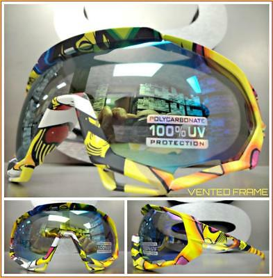 Oversized 90s RETRO SPORTY Wrap Around Style SUN GLASSES GOGGLES Gold Green (Wrap Around Goggles)
