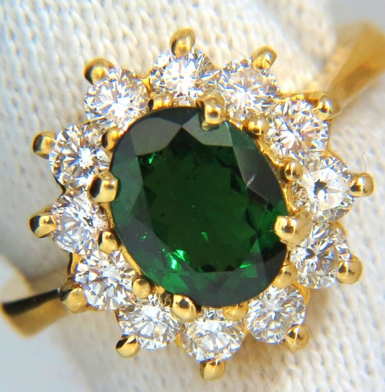 █$6000 2.78ct Natural Vivid Intense Green Tsavorite Diamonds Ring 18kt Cluster