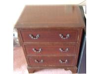 "Vintage ""Mahogany"" Look 3 Drawers Side Cabinet"