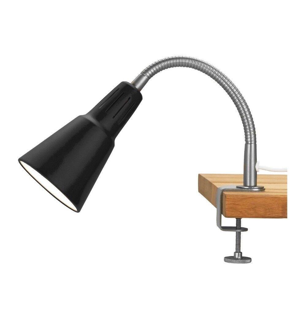 Ikea Kvart Adjustable G Clamp Spotlight Lamp In Black With Led Bulb