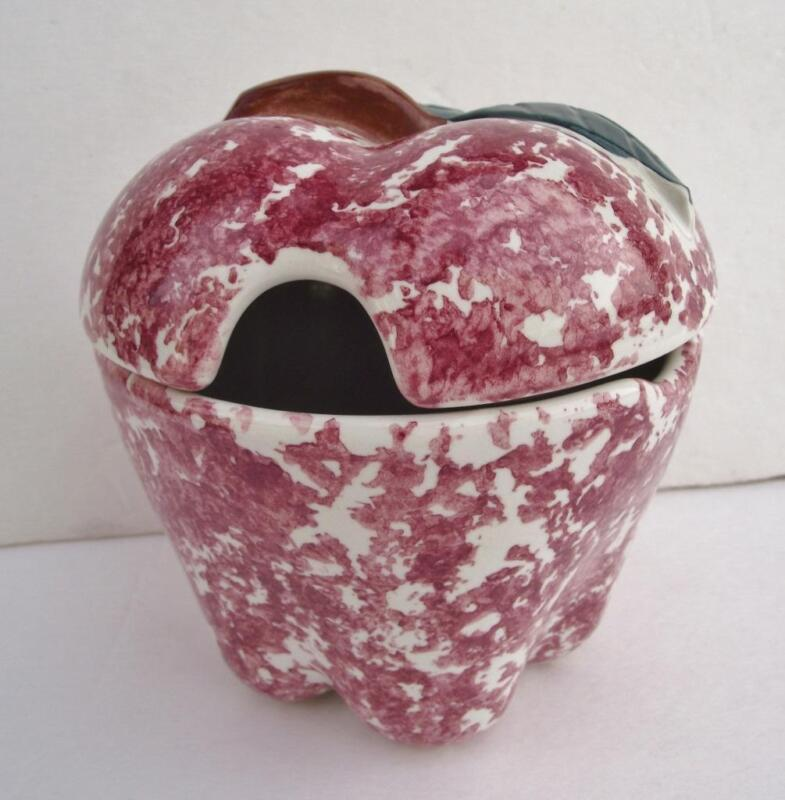 Chaparral USA Pottery Apple Red Spongeware Jam Jar California Stoneware