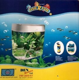 Brand New - Fish R Fun Premium desktop Aquarium Grey