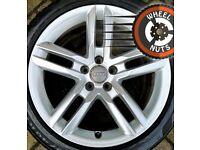 "18"" Genuine Audi A4 A5 S Line twin spoke alloys excel cond Pirelli Cinturato tyres."