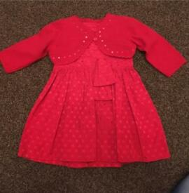 Girls M & S red Christmas dress & cardigan set age 6 -9 Months