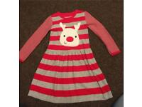 Girls knitted Rudolph reindeer Christmas jumper dress age 5 - 6 Years
