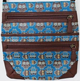 Owl Cross Body / Messenger Bag in Brown and Blue