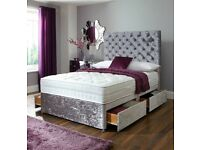 SAME DAY Delivery GOOD QUALITY BRAND NEW Crushed Velvet Bed Base /Crystal Buttoned Headboard