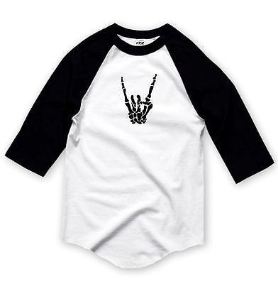 Skeleton T Shirts (Printed Hand Skeleton 3/4 Sleeve BaseBall T-Shirts Raglan MMA Funny Rock &)