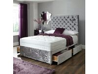 GET THE BEST PRICE EVER BRAND New Double/ King Crush Velvet Divan Bed Base With Mattress