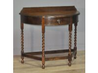 Attractive Barley Twist Oak Demi Lune Occasional Hall Side Table With Drawer
