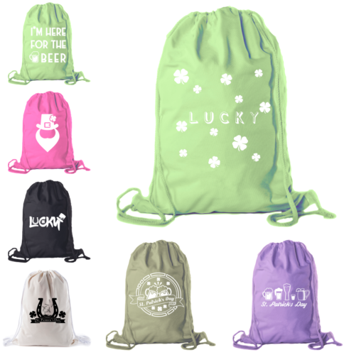 St Patrick's Day Drawstring Backpack Cotton Canvas Backpacks