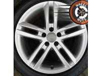 "18"" Genuine Audi A6 S Line twin spoke alloys perf cond Bridgestone tyres."