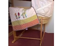Mamas and Papas Moses Basket with Stand + Blanket and Sheets