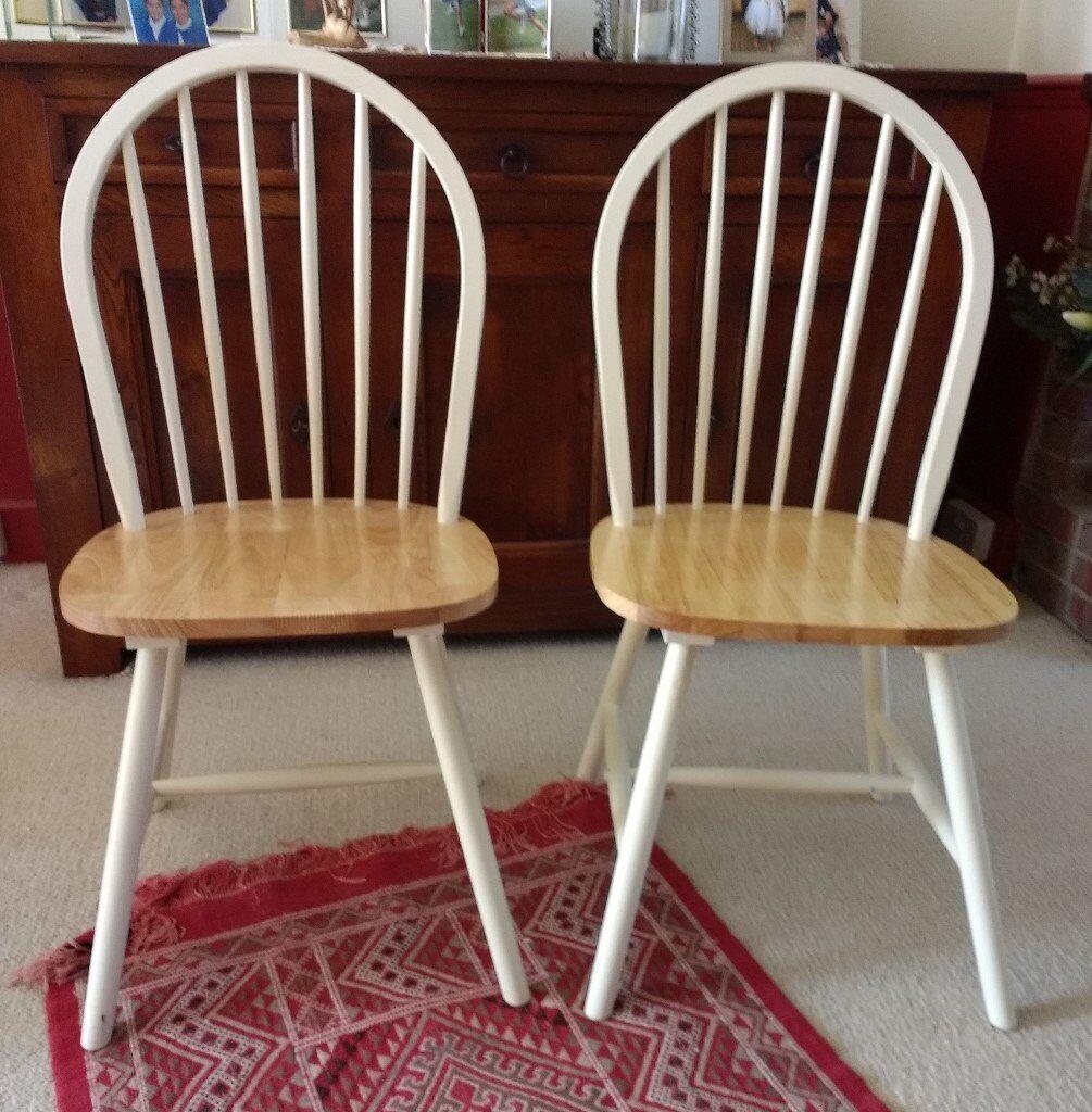 Pair Of Solid Wood Chairs, Unused