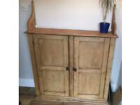 Large antique solid oak cupboard/sideboard.