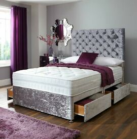 Day of choice Delivery all over London High Quality Kingsize Divan Bed Mattress and Headboard