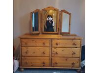 Large double pine dresser & on top mirror (Ex-McCullys)