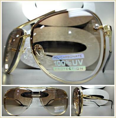 Classic Elegant VINTAGE RETRO Style SUNGLASSES Gold Metal Frame Light Honey (Elegant Sunglasses)
