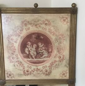 Antique Wall Mirror with maroon colour Cherub Design at top