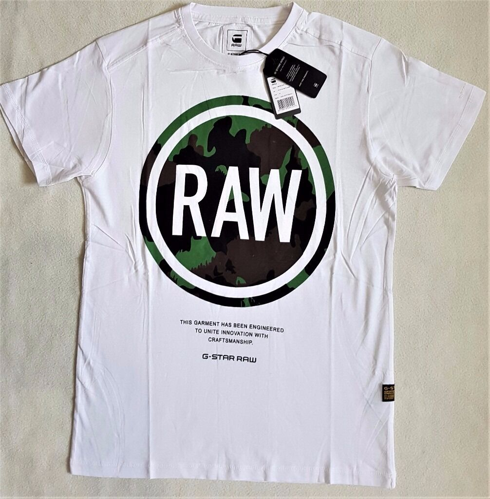 G-Star Raw Mens Designer T-shirt, Crew Neck, Cotton, Slim