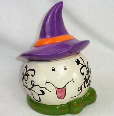 Ghost Small Cookie Jar Candy Dish Witch Hat Lid Ceramic Halloween Crazing Face
