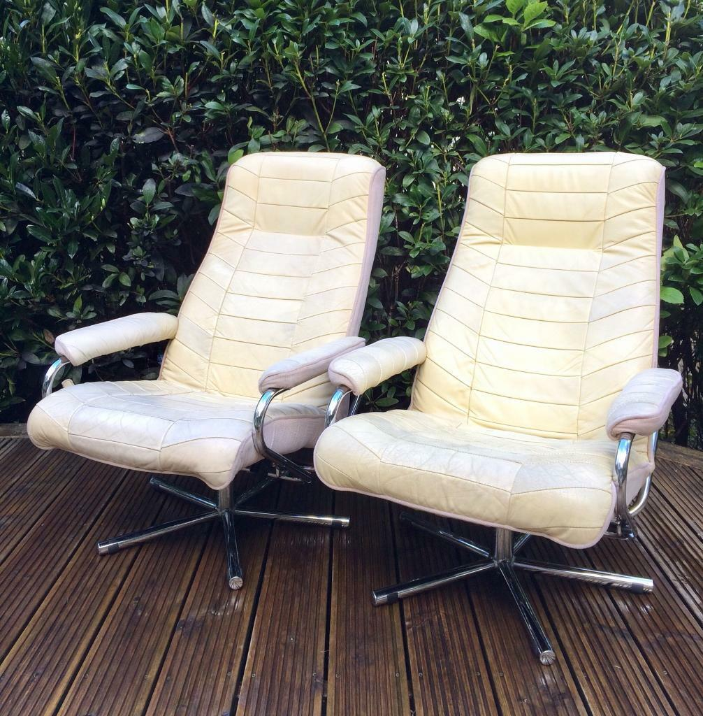 Pair Of Vintage Scandinavian Leather Recliner Chairs Vgc