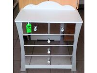 NEW Three Plus Two Drawer Chest in White with Mirrored Drawer Fronts