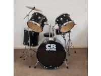 Black CB 5 piece Beginner Drum Kit