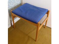 Small blue-topped stool for dressing table or footstool