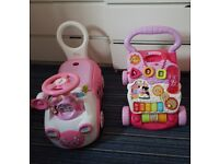 Girls vtech walker and minnie mouse ride on