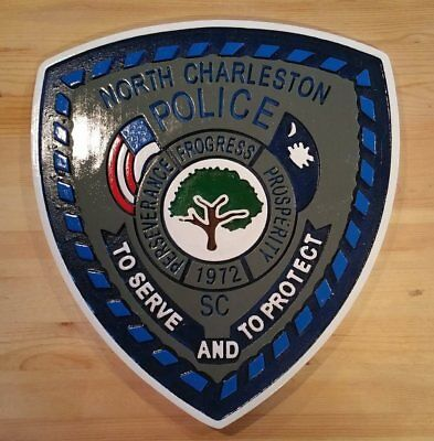 Police North Charleston 3D routed carved custom wood patch plaque sign Custom
